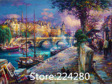 Romantic town bustling market Art Needlework,Bricolage DMC Cross stitch kit Embroidery Scenic Canvas Patterns,DIY Handmade Decor(China)