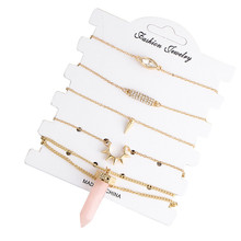 LINSOIR 2017 Boho Natural Stone Gems Rose Quartzs Necklace Jewelry Set Gold Color Crystal Bar Bracelets For Women Pulseras F6686(China)