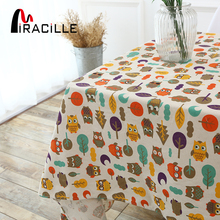 Miracille Animal Cartoon Colorful Small Owl Pattern Table Cloth Cotton Linen Outdoor Furniture Dining Cover Kitchen Home Decor