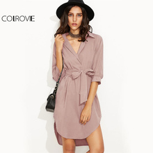 COLROVIE OL Lapel Shirt Dress 2017 Pink Women Bow Tie Waist Brief Work Summer Dress Fashion High Low Wrap Half Sleeve Mini Dress