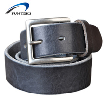FUNTEKS 100% Original Top Cow Genuine Leather Mens Belt for Men Strap Fashion Alloy Pin Buckle Male Belts Ceinture Homme