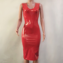 Buy Summer Dress Women Sexy Party Club Dress New Robe Femme PU Dress Latex Glossy Sexy Bodycon Midi Dress