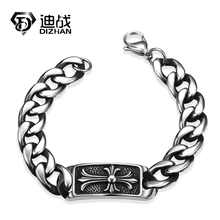 Easter Stainless Steel Cross Wristband Biker Bracelet High Quality Punk Vintage Hand Chain Men's Bracelets For Chirstmas Gif