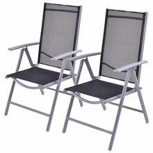 Goplus Set of 2 Patio Folding Beach Chair Adjustable Reclining Indoor Outdoor Garden Aluminum Portable Fishing Chairs HW52027(China)