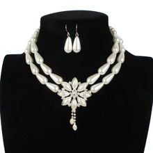 Simulated-pearl Flower Jewelry Sets Wedding Gifts For Guests Earrings Choker Necklace Set Souvenirs Presents Wholesale Jewellery(China)