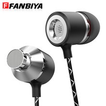 FANBIYA Super Bass in ear Earphone with Mic Remote HiFi Stereo Head Phone Metal Noise Canceling 3.5mm aux Earbuds for iphone 7 6(China)