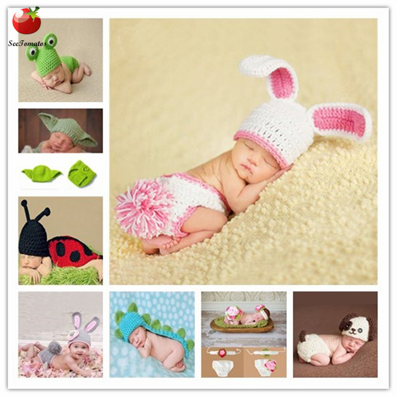 0-6month Baby Crochet Photography Props Shoot Newborn Photo Cool Boy Costumes Infant Beanies And Pants Clothing Set Soft Rabbit(China)