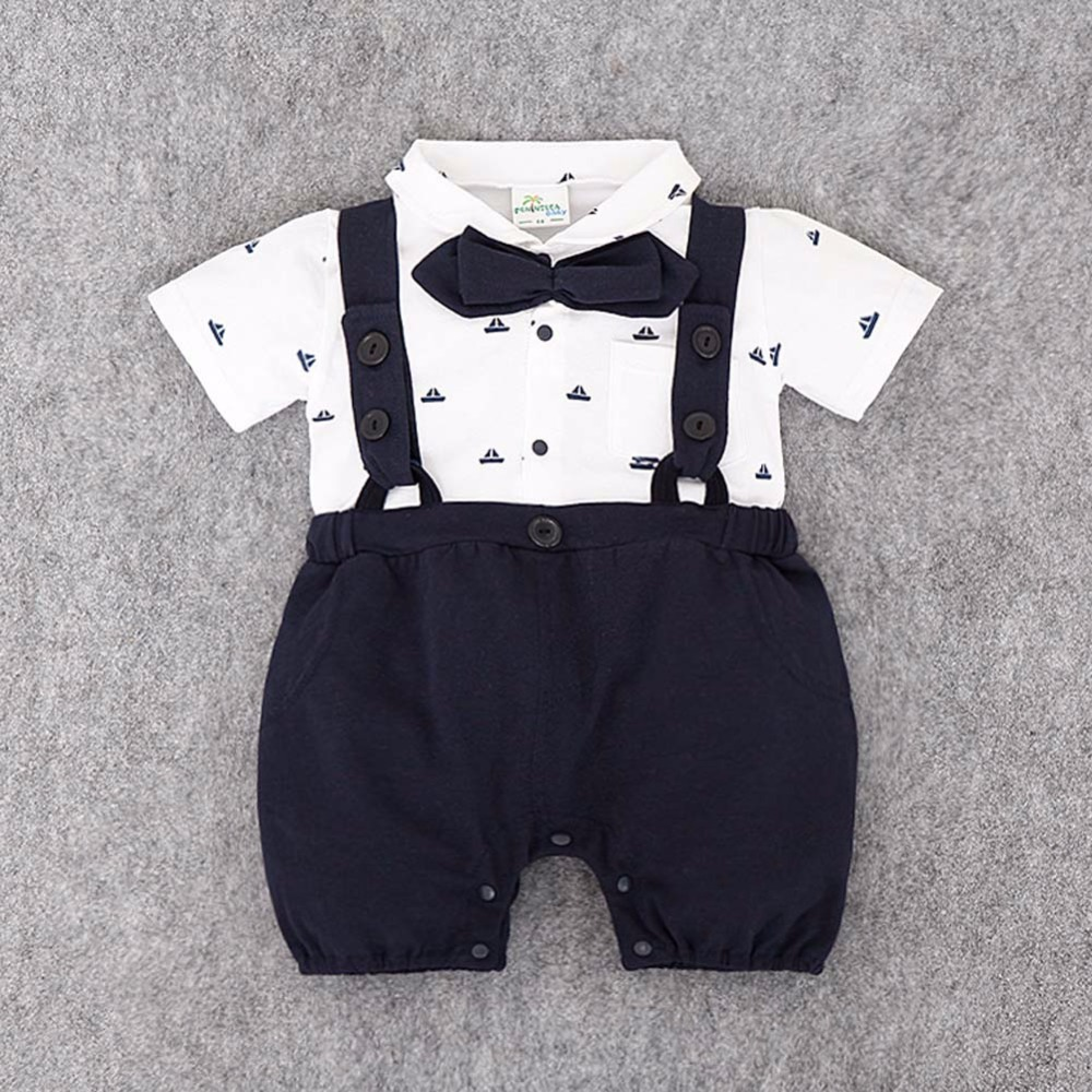 New 2017 Gentleman Short Sleeve Cotton Baby Clothes High Quality Newborn Baby Boy And Girl Jumpsuit Infant Clothing<br><br>Aliexpress