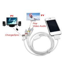 ANENG USB Dock Connector to TV RCA Video Composite AV Cable Adapter for Apple iPad 2 3 for iPhone 3GS/4/4S/iPod VHK63 T20