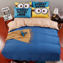 Simple Cotton Set Bedding orange blue Minions Solid Bed duvet cover linens 4pcs Home Breathable Smooth  bedding sets