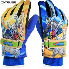 2016 New Arrival 6-9 Years Children Warm Snow Snowboard Gloves Winter Warm Gloves Cartoon Designs 2 colors Free Shipping