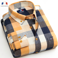 Langmeng 2017 new fashion men 100% cotton flannel shirts plaid casual shirt mens dress shirts brand long sleeve camisa masculina