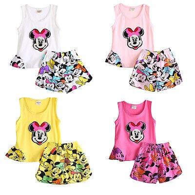 Infant Kids Baby Girls Cartoon 2Pcs Mickey Set Sleeveless Tops +Short Pants 0-4Y<br><br>Aliexpress