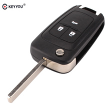 KEYYOU Flip Folding Remote car Key Shell For Chevrolet Cruze Epica Lova Camaro Impala  2 3 4 5 Button HU100 Blade