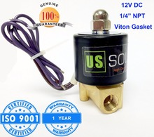 "U.S. Solid 1/4"" 12V DC Brass Electric Solenoid Valve NPT Thread Normally Closed water, air, diesel... ISO Certified"