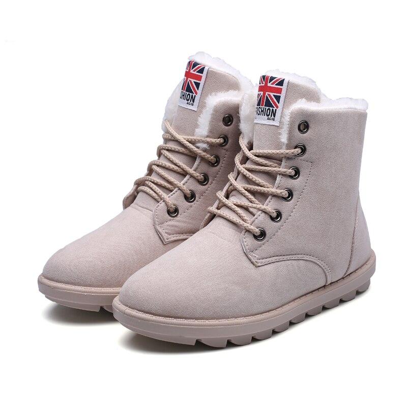 Suede Warm Women Snow Boots Lace Up Beige Warm Fur Women Winter Boots Fashion Ankle Shoes X1023 35<br><br>Aliexpress