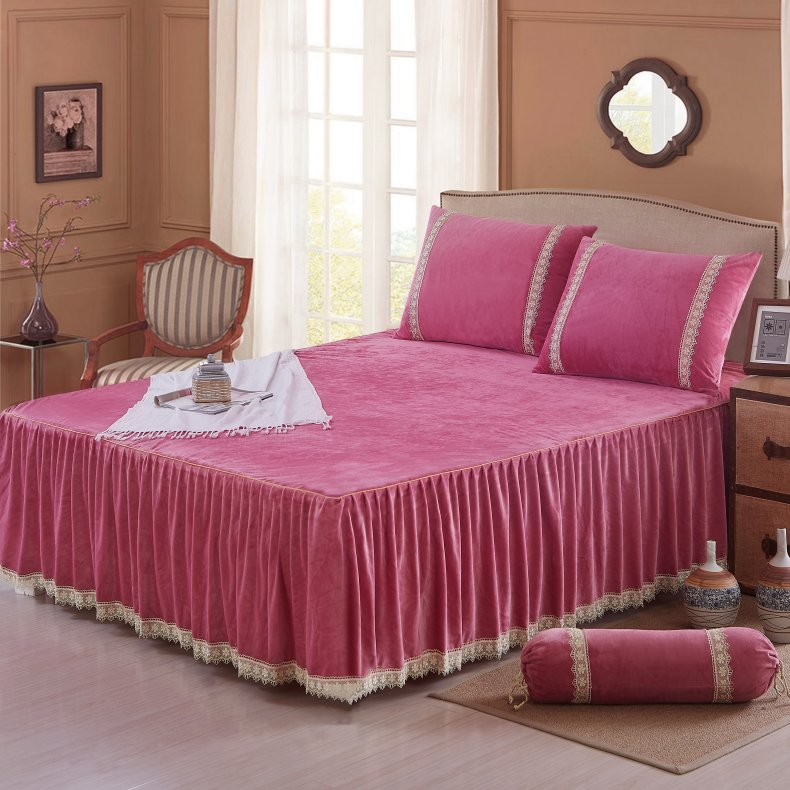 3Pcs Fleece Bed Skirt Set W/ Pillowcases, Mattress Protective Cover 15
