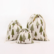 New Desgin Cotton Cloth Drawstring Candy Gift Bags for Children Christmas Tree Small Jewelry Gift Storage Bags