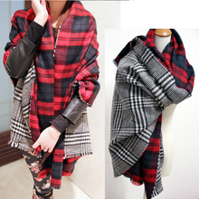 Winter Brand Women's Cashmere Scarf Plaid Oversized double faced plaid Multifunction Thicken Warm cape Shawl Free Shipping(China)