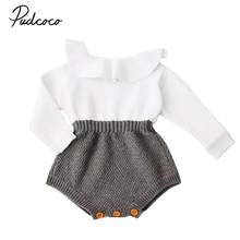 Cute Newborn Baby Girls Wool Knitting Patchwork Tops Long Sleeve Ruffle Romper Shorts Warm Outfits Clothes(China)