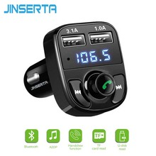 JINSERTA Bluetooth MP3 Player Wireless Hands-free Call FM Transmitter Modulator DC 12-24V Car Kit with Dual USB TF Slot Voltage(China)