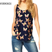 VISNXGI New Summer  T-shirts Women Tank Europe Slim Chiffon Fashion Butterfly Print Sleeveless Tees O-neck Cropped Vintage Tops