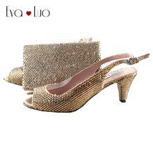 BS922 Custom Made Gold Crystal Italian Shoes And Matching Bag Set  Slingbacks Dress Pumps Bridal Women Wedding Shoes Big Size 897f743b624f
