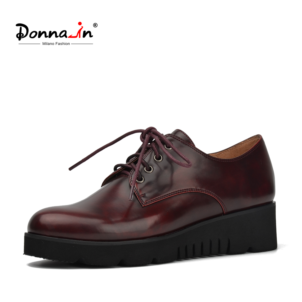 Donna-in Platform Wedge Heel Women Shoes Lace Up Derbies Fashion Red Wine Color Ladies Shoes big size 41-42 for women<br>