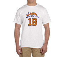 MVP Peyton Manning funny 100% cotton t shirts Mens Number 18 Fashion T-shirts for Broncos fans 0214-7(China)