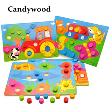 Wooden Toys Tangram/Jigsaw Board Cartoon Puzzle Jigsaw Kids Early Education educational Toys for children