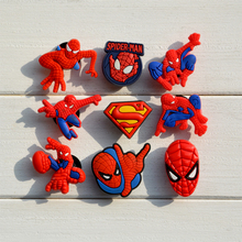 Free Shipping 9pcs/set Cartoon PVC Figure Shoe Accessories Spiderman Shoe Charms Buckle Fit Wrist band for kids Promotion Gifts
