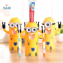 2017 Bathroom Products Design Minions Automatic Toothpaste Dispenser Plastic Bathroom Accessories Set Toothbrush Holder Kid Gift