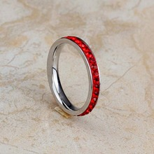 2016 New Fashion Stainless Steel Full Red Crystal Wedding Bands Finger Rings For Women Round Nice Cut Jewelry Size 6-9 (A1041)
