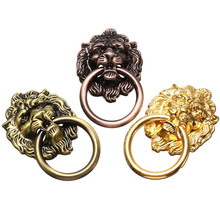 Newest 6Pcs/Set Vintage For Lion Head Drawer Furniture Cabinet Dresser Door Pull Handle Knob Ring 3 Colors