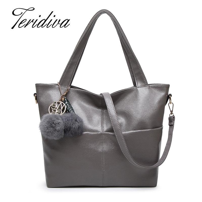 Teridiva High Quality PU Leather Women Shoulder Bag Big Tote Bag Large Capacity Bags Famous Brand Bolsa Feminina Messenger Bags<br><br>Aliexpress