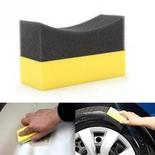 Vacuum compressed sponge Auto U-Shape Tire Wax Polishing Compound Sponge ARC Edge Sponge Tyre Brush car Cleaning Sponge(China)