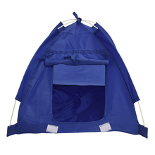 Pet Kitten Cat Puppy Dog Mini Nylon Camp Tent Bed Play House Blue-S