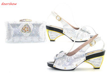 doershow Shoes and Bag Set for Women High Quality Italian Shoes with Matching Bag Set Decorated with Rhinestone JK1-3(China)