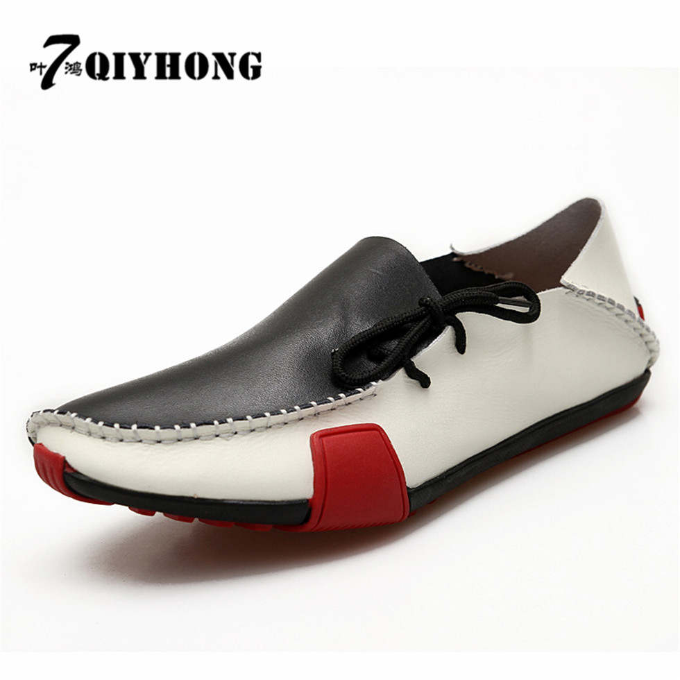 2018 men leather shoes Fashion Casual Luxury QIYHONG Brand  Summer Breathable Soft Genuine Leather Flats Loafers Men Shoes<br>