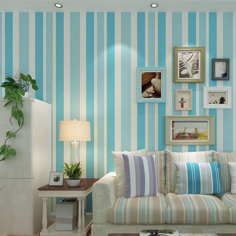 Modern simple 3D relief relief vertical stripes green non-woven blue striped living room TV background wallpap papel de parede<br><br>Aliexpress