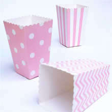 Popcorn box colorful chevron stripes dot Gold Gift Box Party Favour Wedding Pop corn kid party decoration bags loot(China)