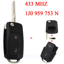 1J0 959 753 N Flip Key Remote Transmitter for VW PASSAT GOLF MK4 1998-2000 2 Button Smart Car Key 433 MHz ID48 Chip Uncut Blade
