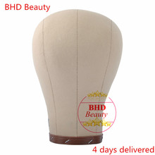 "USA free shipping BHD 22""/23"" Canvas block head weft/wig display style styling mannequin manikin head cork inside dryer 10"" Tall(China)"