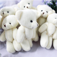100pcs/lot 12CM Promotion gifts white mini bear plush toy joint teddy bear bouquet doll/cell phone accessories(China)