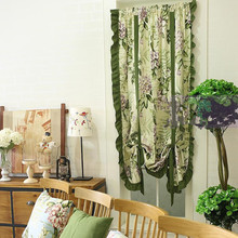 American Country Style Green Wave Edge Beige Yellow Printed Balloon Curtain Adjustable Height Decorative Curtain 145*190cm(China)