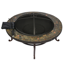HIO 34-Inch Natural Slate Top Outdoor Fire Pit with Spark Screen Steel Wood Grate Protective Cover and Safety Poker(China)