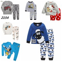 New Children Pajamas Set Kids Baby Girl Boys Cartoon Casual Pijamas Kids long sleeve Pyjamas Sleepwear Nightgown(China)