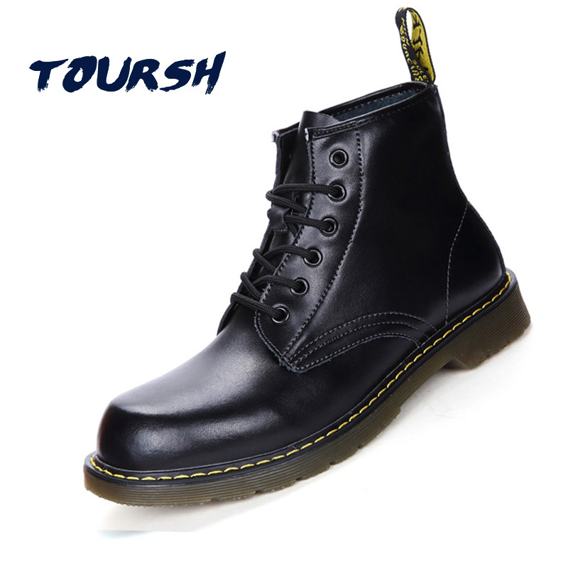 TOURSH Luxury Genuine Leather Women Ankle Working Boots Winter Warm Shoes Waterproof Black Lace Up Boots Plus Size 42 Zapatos<br>