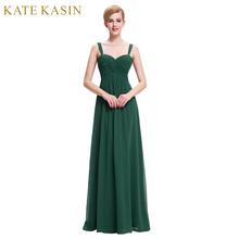 Long Elegant Prom Dresses 2017 Straps Chiffon Vestido de Festa Black Green Blue White Prom Dresses Robes de Soiree Party Dress(China)