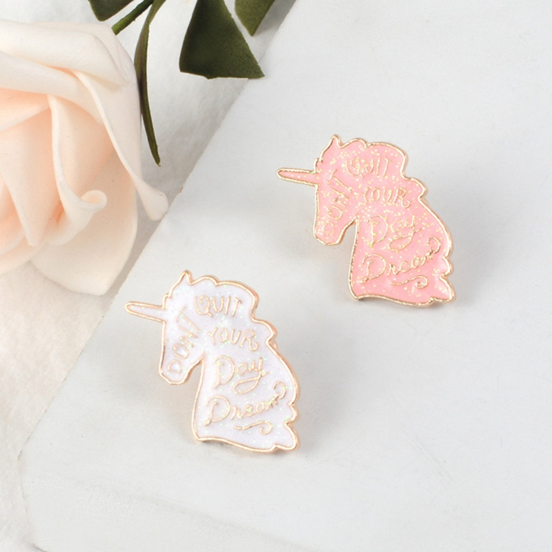 1 Piece Fashion Unicorn Brooch Pins Button Metal  Animal Denim Jacket Collar Badge For Women Girl  Jewelry Gift